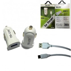 Adaptateur allume cigare 2.4A +cable TYPE C - BLANC