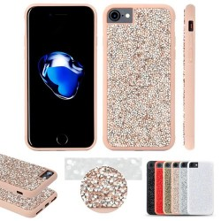 Coque pour IPhone 6/7/8 BLING STRASS (PC+TPU) antichoc  - ROSE